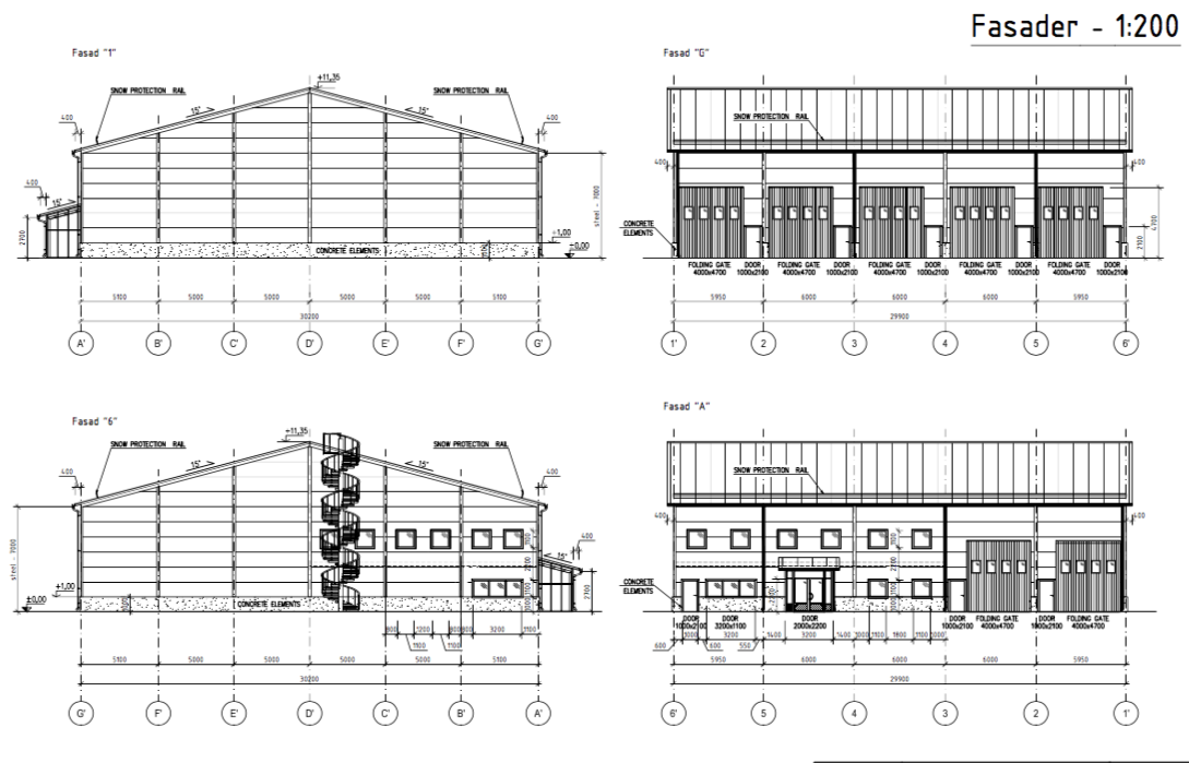 Fyrstad ritning fasad